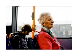 picture on a Lincoln bus of fellow travellers​